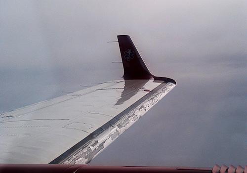 Námraza na křídle letadla